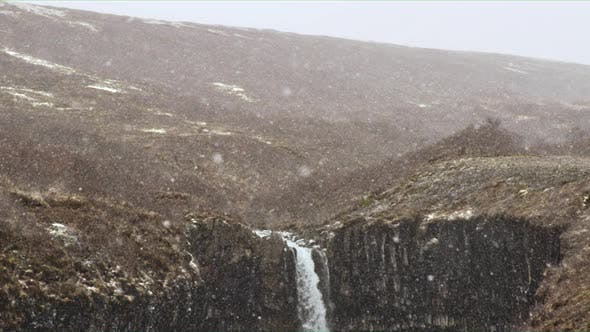 Winter View of Svartifoss Waterfall in Iceland.