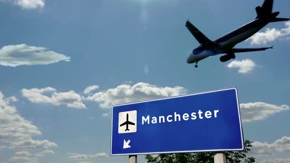 Airplane landing at Manchester England airport