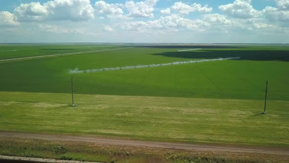 Watering of Fields, Aerial View, Automated Irrigation System