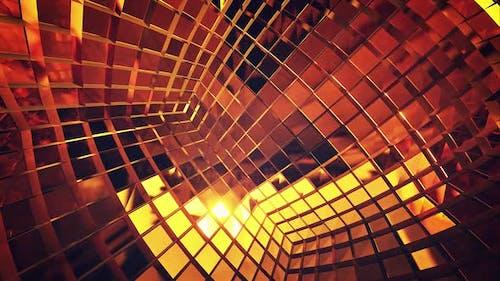 Innen Golden Mirror Disco Cube Neutral Vj Hintergrund 4k