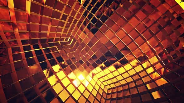 Thumbnail for Inside Golden Mirror Disco Cube Neutral Vj Background 4k