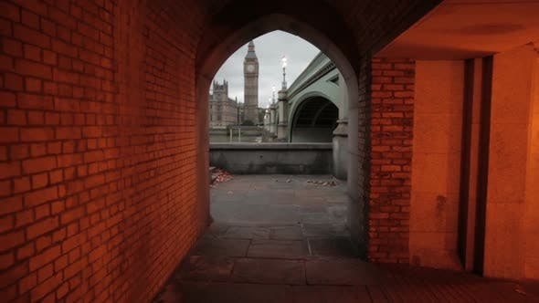 A tunnel in London that views Big Ben