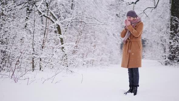Thumbnail for Eine Frau trinkt heißen Tee im Winterwald