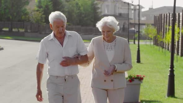 Thumbnail for Beautiful Senior Couple Walking Outdoors on Summer Day