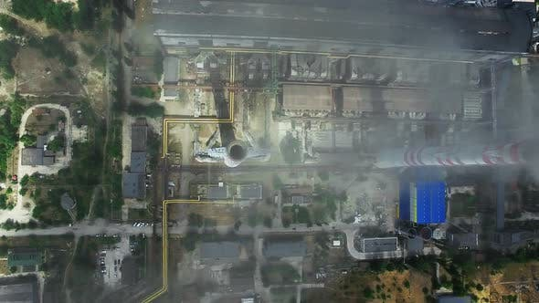 Thumbnail for Manufacturing Factory with Smokestacks. Aerial View of Power Plant