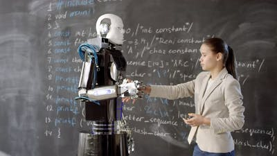 Girl And Android Shaking Hands