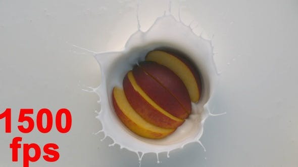 Thumbnail for Slices Of Peach Fruit Falling Into White Yogurt With Splashes 4K