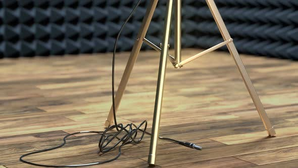 Thumbnail for Professional Microphone on a Microphone Stand in Sound Recording Studio