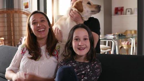 Family having video call