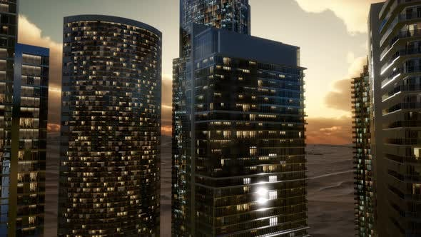 Thumbnail for City Skyscrapers at Sunset in Desert