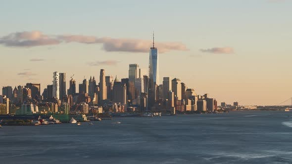 New York City Downtown at Sunset