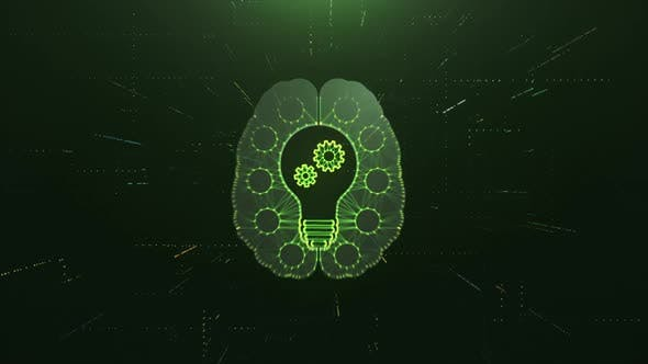 Scan Brain with Idea Bulb and AI Gears