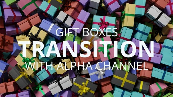 Colored Gift Boxes Transition with Alpha Channel