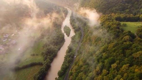 Aries River In Apuseni Mountains Aerial View, Romania