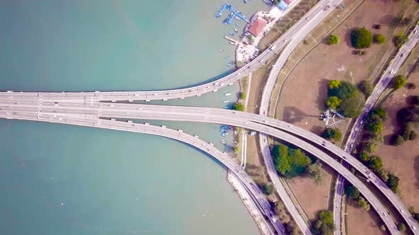Thumbnail for Penang Bridge Drone Shot Top View