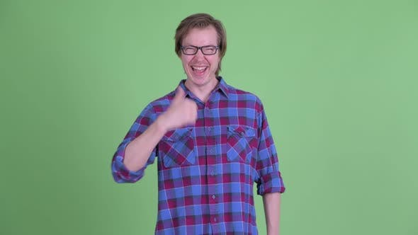Thumbnail for Happy Young Handsome Hipster Man Giving Thumbs Up