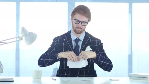 Thumbnail for Angry Redhead Man Tearing Papers in Office, Fail Work