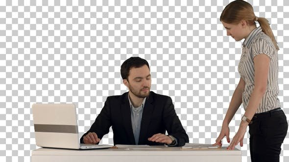 Business people discussing document, Alpha Channel