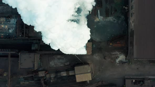 Cover Image for Aerial View. Industry Pipe Pollute the Atmosphere With Smoke, Ecology Pollution, Industrial Factory