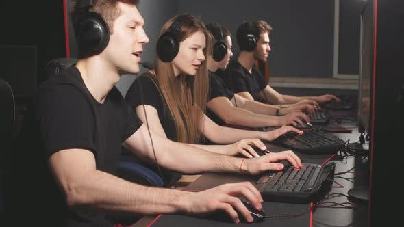 Thumbnail for Casual Gamers Gather Together in Pc Gaming Club To Compete in Online Tournament