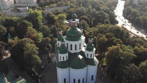 St. Cyril Church in Kyiv. Ukraine. Aerial View