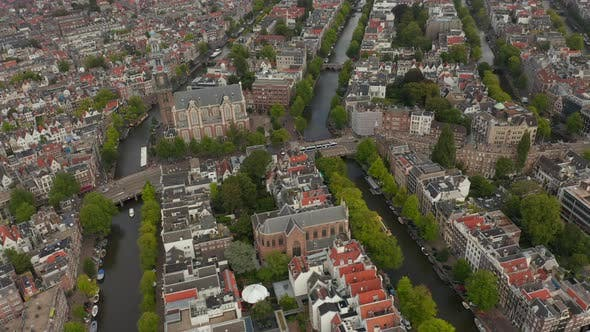 Thumbnail for Typical Amsterdam Neighbourhood with Church Wide Establisher, Aerial Forward, Cloudy