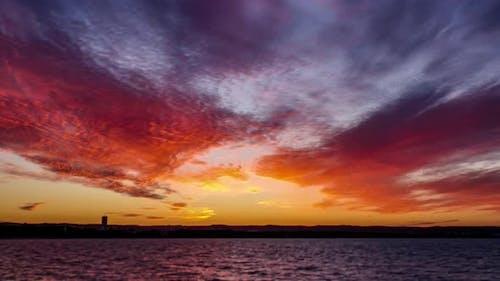 Timelapse of Orange Sky After Sunset.