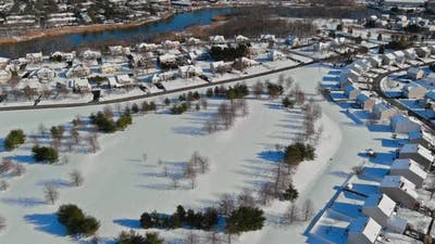 Panoramic View Snow Covered Winter Town with at Height Roofs Small Town of House of Residential