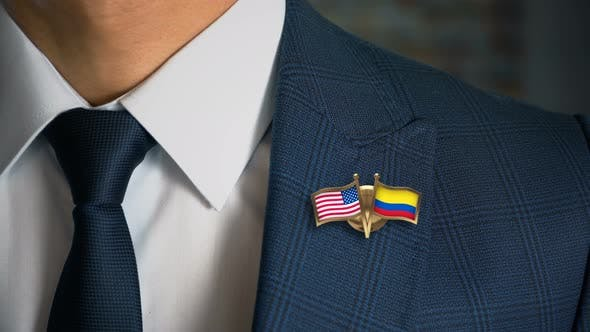 Thumbnail for Businessman Friend Flags Pin United States Of America Colombia
