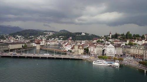 Long shot of Lucerne and Reuss River
