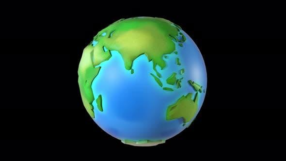 Thumbnail for Cartoon Green Healthy Earth  4k