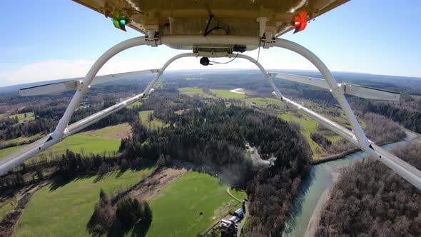 Stillaguamish River Farmland Snohomish County Washington Aerial Helicopter View