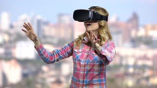 Pretty Girl Wearing Virtual Reality Glasses