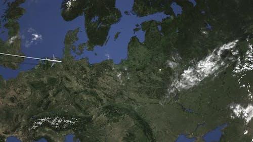 Plane Arriving To Minsk Belarus