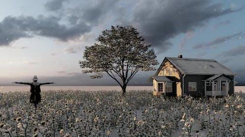 Snowy Weather Farmhouse and Scarecrow