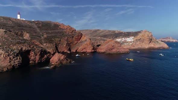 Thumbnail for Tropical Portugal Berlengas Blue Lagoon Island Aerial Travel Video. Ocean Sea Coast Seashore