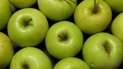 Green Apples Rotating Closeup