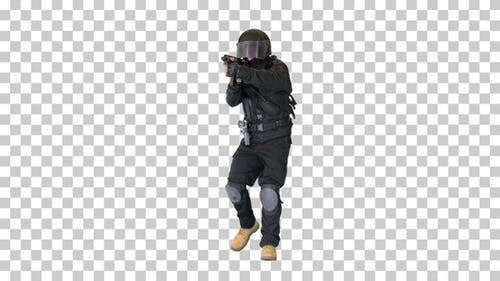 Police anti terrorism squad fighter shooting, Alpha Channel