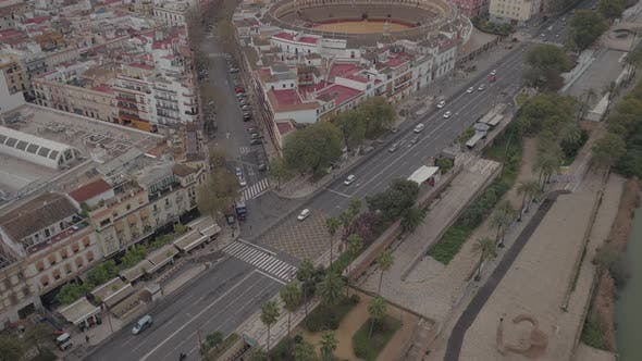 Aerial of Seville with Paseo de Cristobal Colon