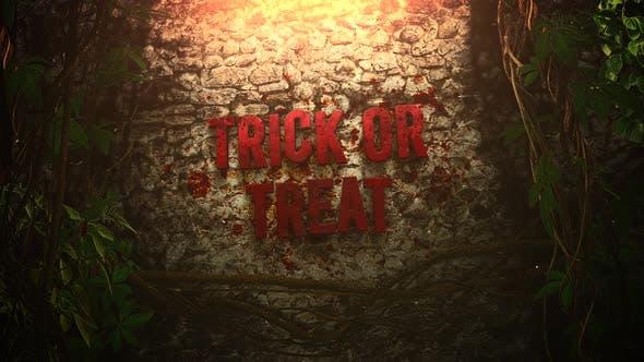 Animationstext Trick oder Treat und mystischen Horrorhintergrund mit dunklem Blut