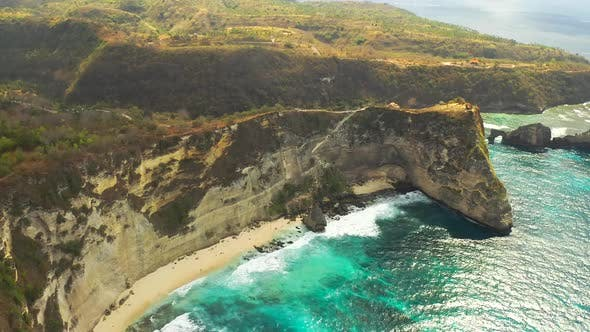 Cover Image for Aerial View on Diamond Beach at the Bottom of a Cliff, Nusa Penida, Bali, Indonesia