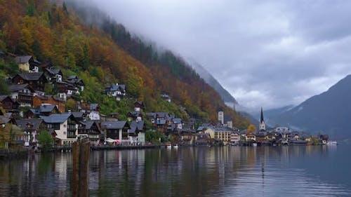Traditional homes near lake in famous Hallstatt village