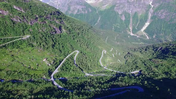 Hairpin curves on mountain road in Norway