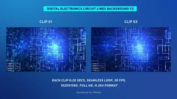 Thumbnail for Digitale Elektronik-Schaltungsleitungen, die sich vertikal bewegen - 2 Clips