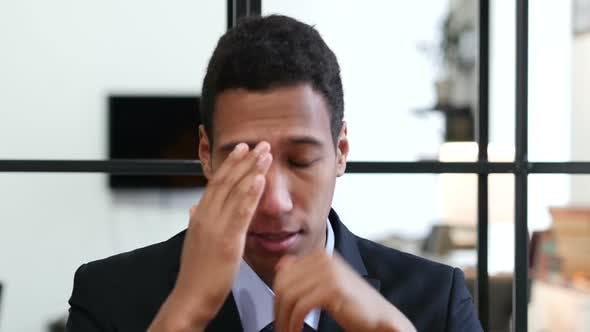 Thumbnail for Headache, Upset Tense Young Black Businessman