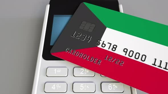 Thumbnail for Payment Terminal with Card Featuring Flag of Kuwait
