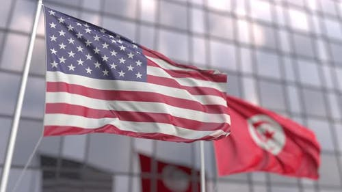 Waving Flags of the United States and Tunisia