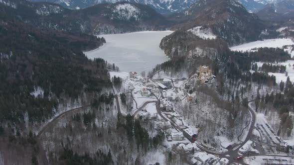 Thumbnail for Alpsee Lake in Mountains in Winter Day. Bavarian Alps, Germany. Aerial View