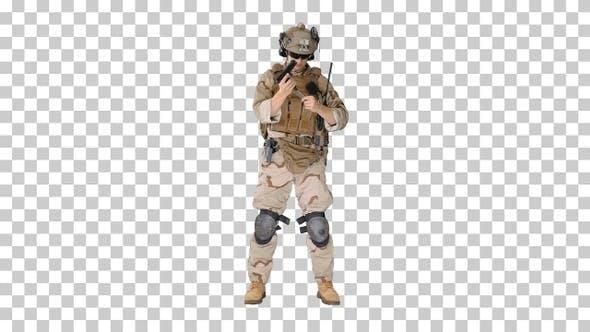 Thumbnail for Marine in military uniform checking revolver gun, Alpha Channel
