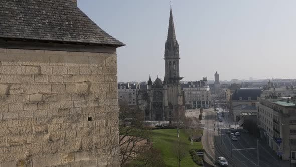 Thumbnail for CAEN, FRANCE - MARCH 2016  Cityscape of Calvados capital Caen with details of castle and the church